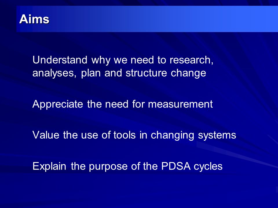 Aims Understand why we need to research, analyses, plan and structure change. Appreciate the need for measurement.
