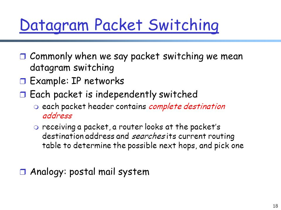 Taxonomy of Networks; Layered Network Architecture - ppt ... Datagram Packet Switching