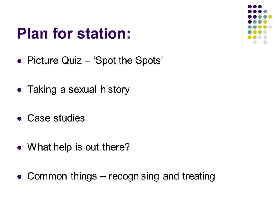 Plan for station: Picture Quiz – 'Spot the Spots'