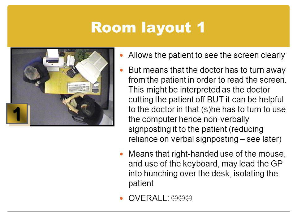 1 Room layout 1 Allows the patient to see the screen clearly