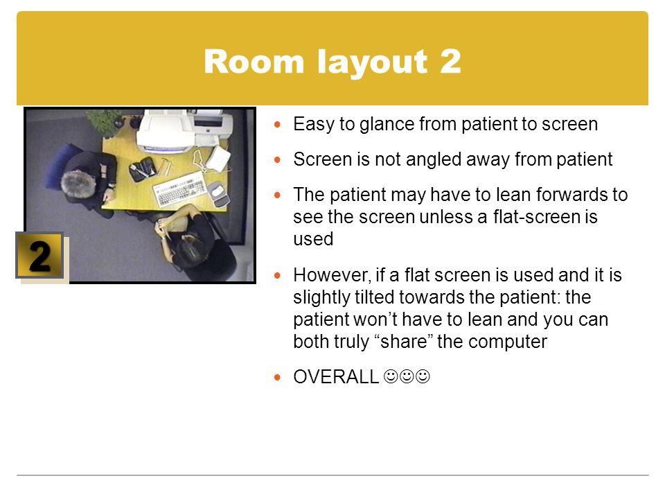 2 Room layout 2 Easy to glance from patient to screen