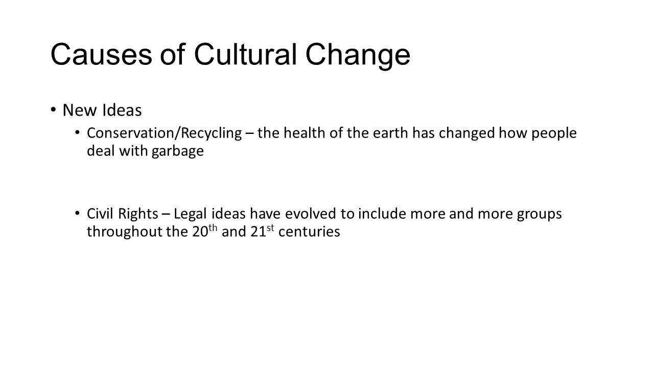 the changes in cultural ideas caused by new technology A discovery adds something new to the culture and becomes a factor in social change only when it is put to use diffusion is a process of the spreading of ideas, culture and objects to other societies.