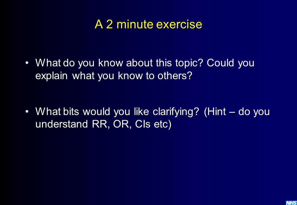 A 2 minute exercise What do you know about this topic Could you explain what you know to others