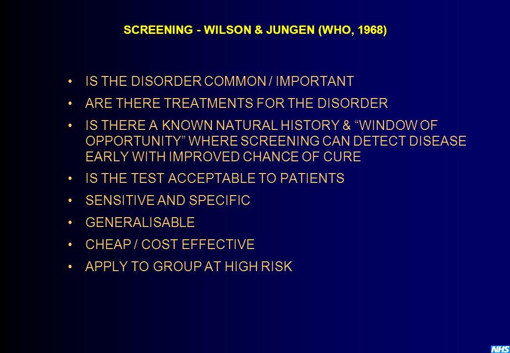 SCREENING - WILSON & JUNGEN (WHO, 1968)