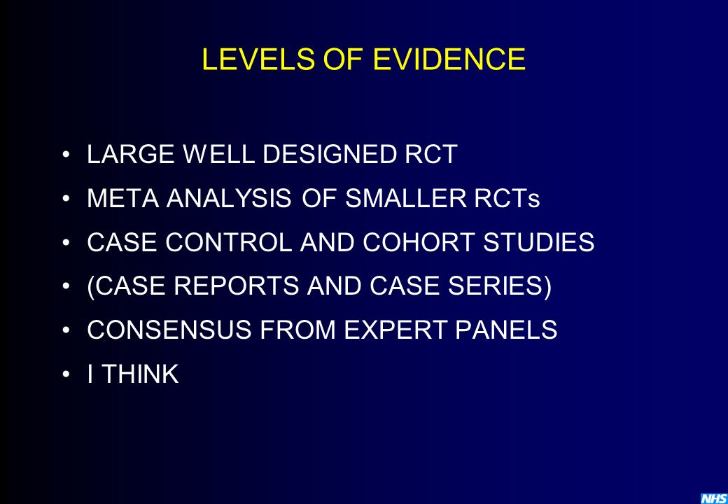 LEVELS OF EVIDENCE LARGE WELL DESIGNED RCT