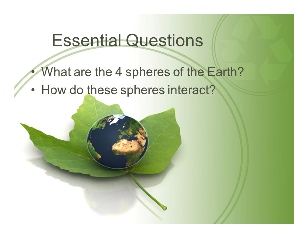 Essential Questions What are the 4 spheres of the Earth