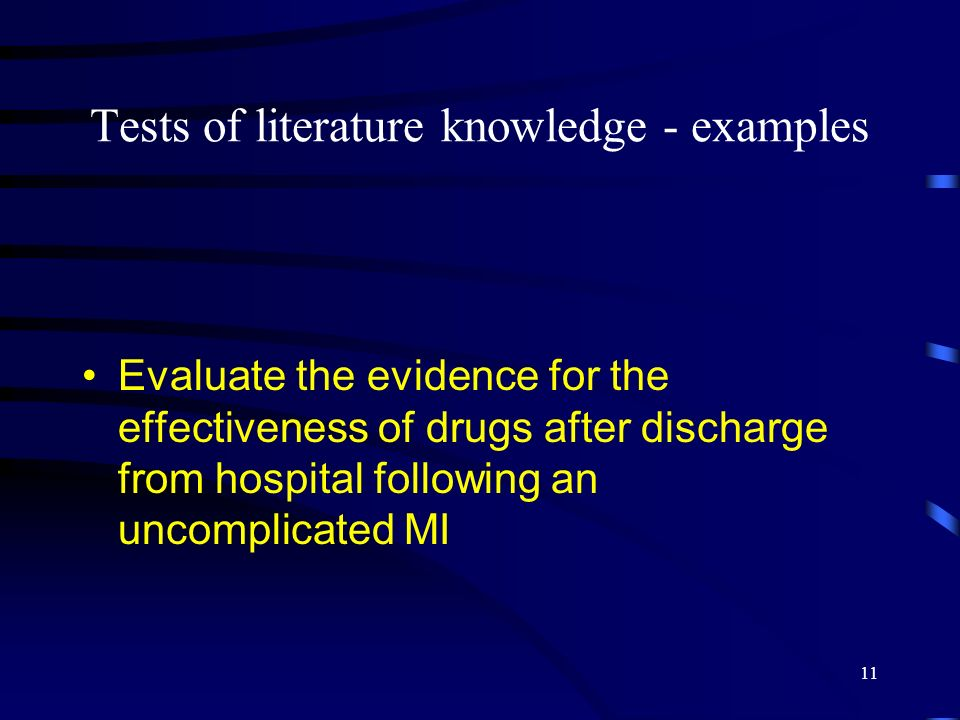 Tests of literature knowledge - examples