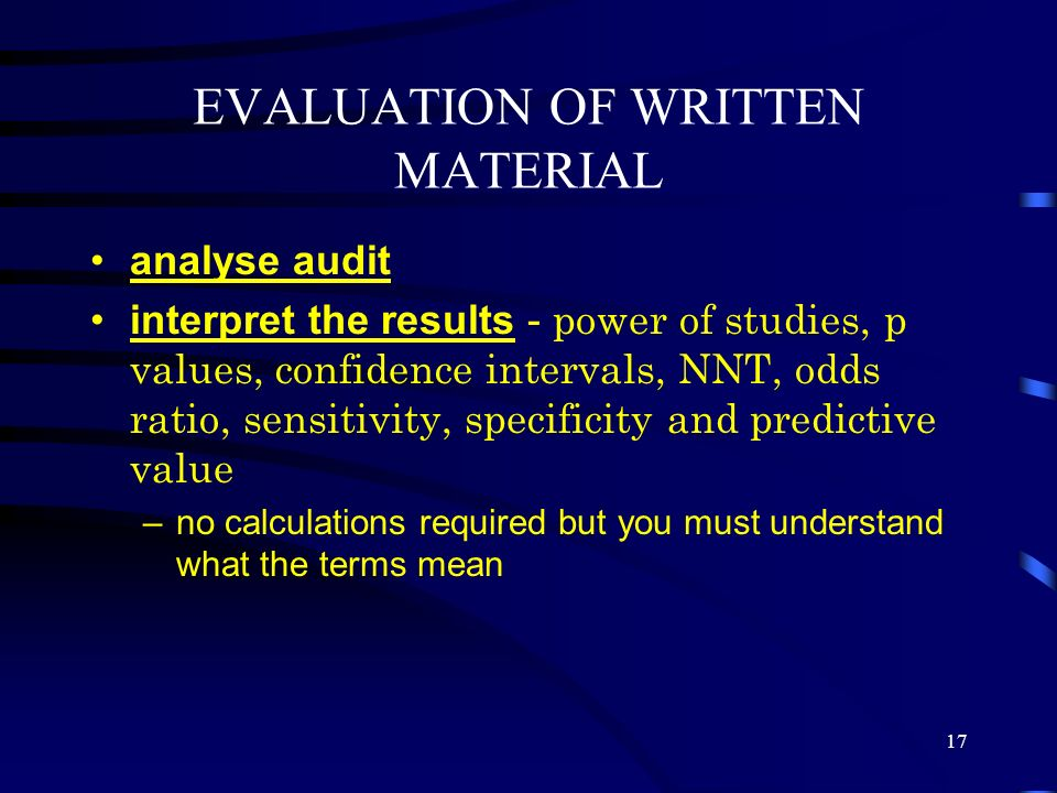 EVALUATION OF WRITTEN MATERIAL
