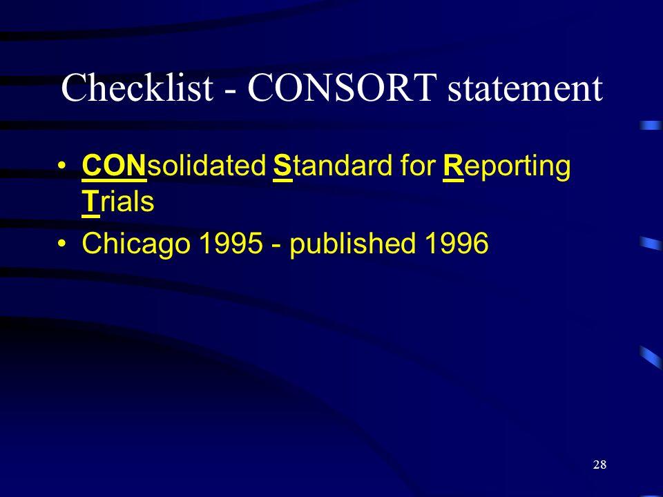 Checklist - CONSORT statement