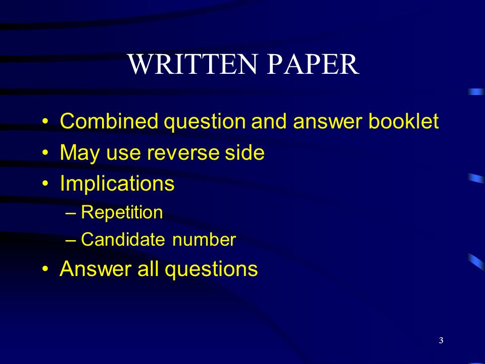 WRITTEN PAPER Combined question and answer booklet