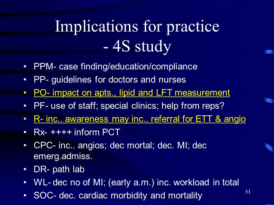Implications for practice - 4S study
