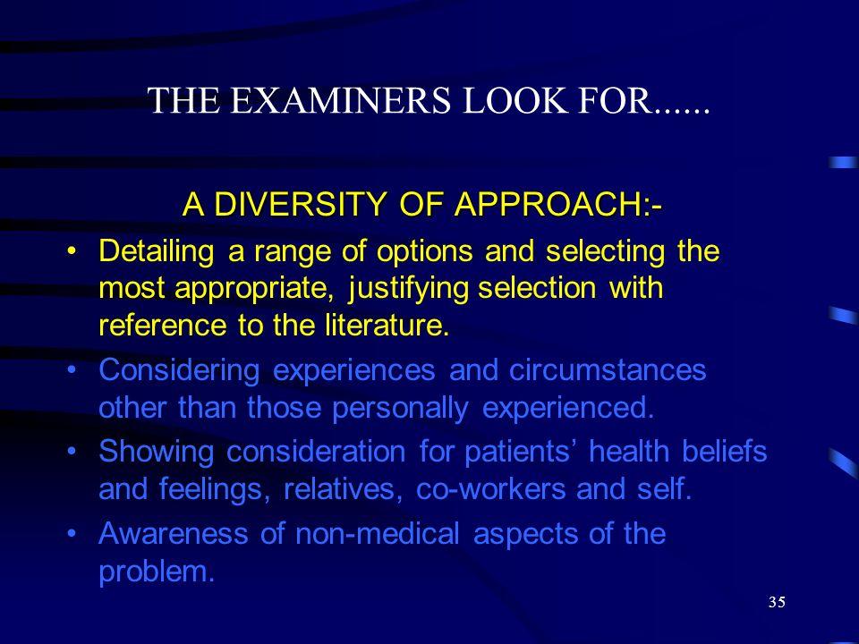 A DIVERSITY OF APPROACH:-