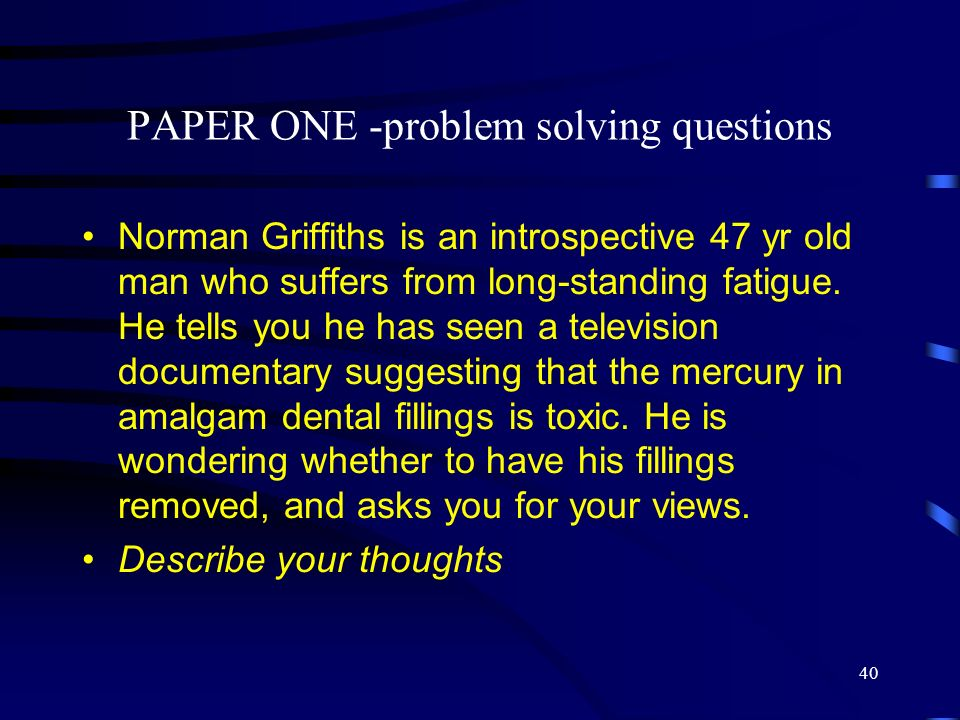 PAPER ONE -problem solving questions