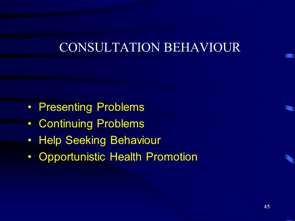 CONSULTATION BEHAVIOUR