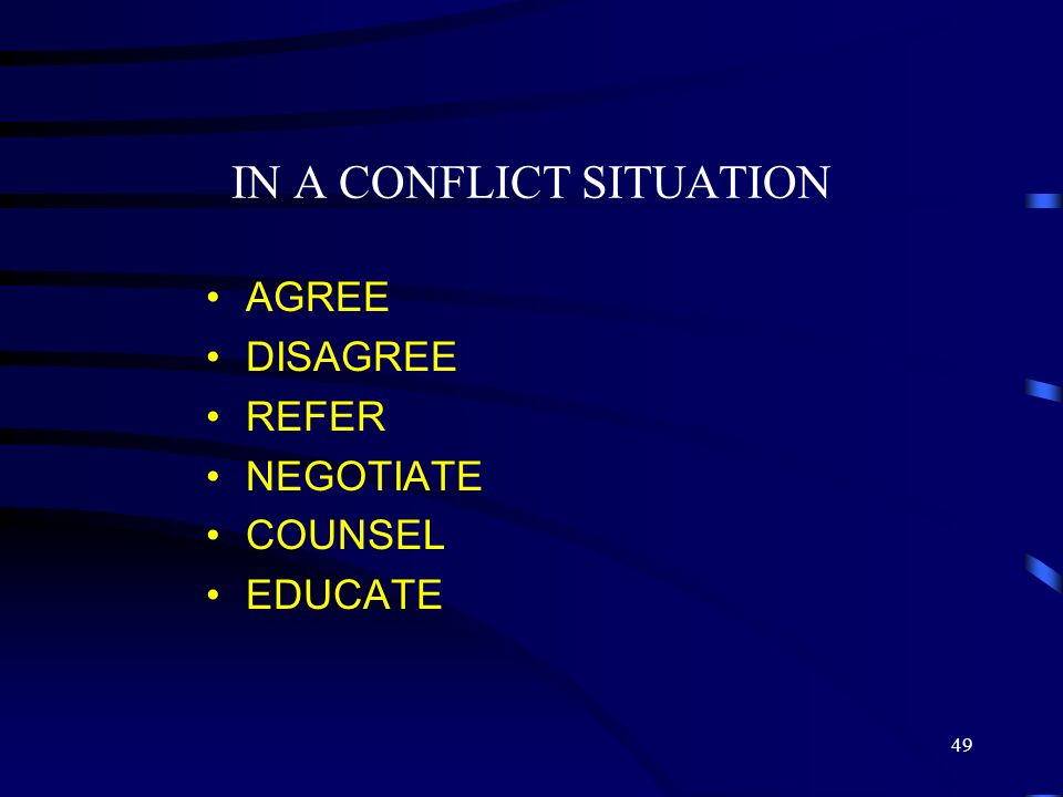 IN A CONFLICT SITUATION