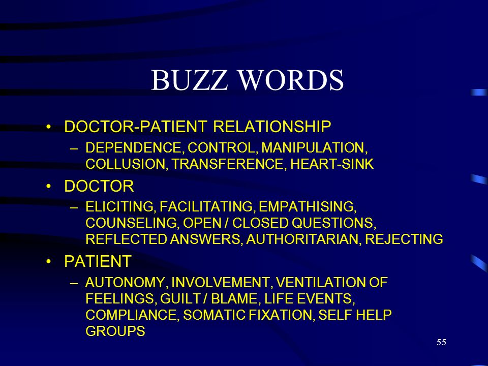 BUZZ WORDS DOCTOR-PATIENT RELATIONSHIP DOCTOR PATIENT