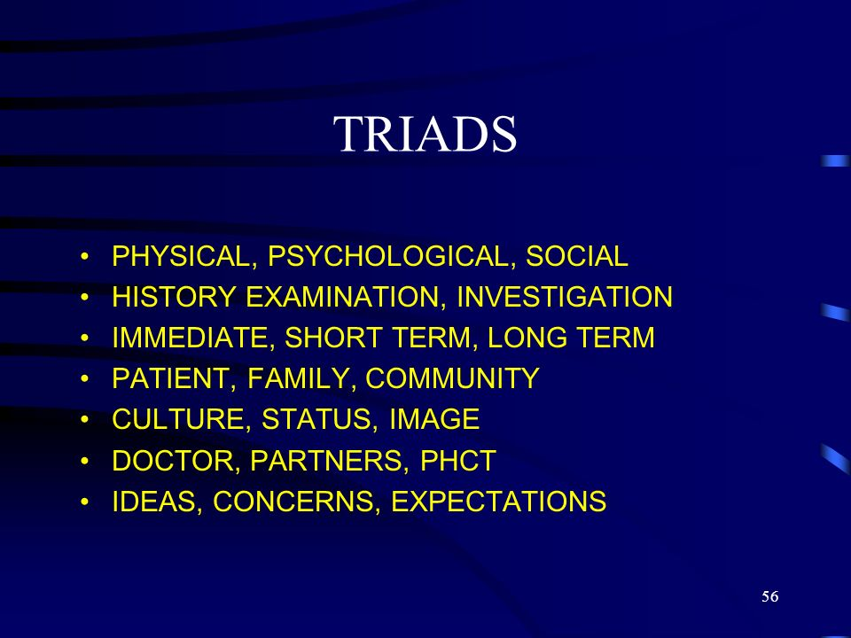TRIADS PHYSICAL, PSYCHOLOGICAL, SOCIAL