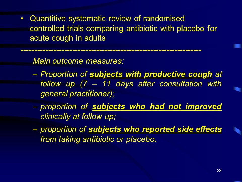 Quantitive systematic review of randomised controlled trials comparing antibiotic with placebo for acute cough in adults
