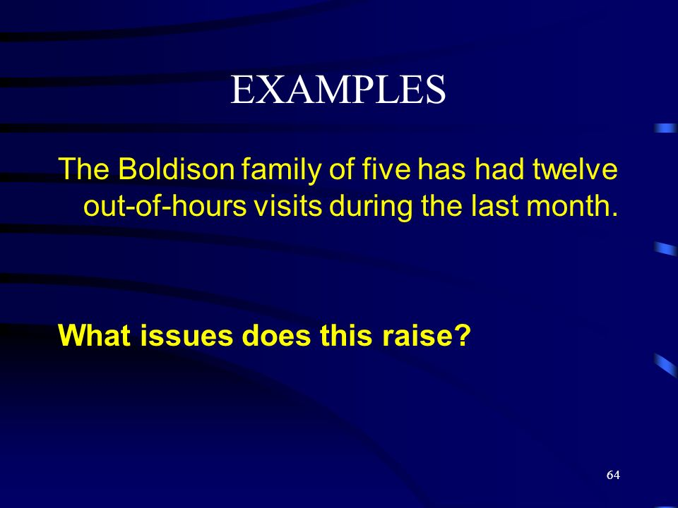 EXAMPLES The Boldison family of five has had twelve out-of-hours visits during the last month.