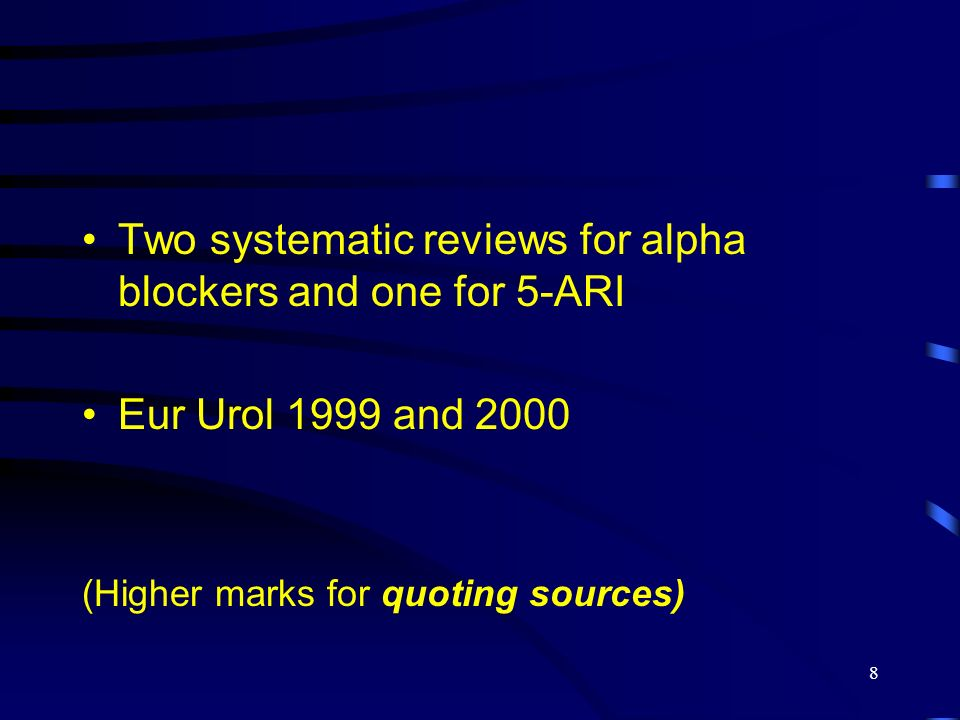 Two systematic reviews for alpha blockers and one for 5-ARI