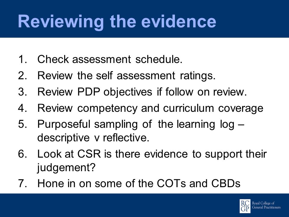 Reviewing the evidence