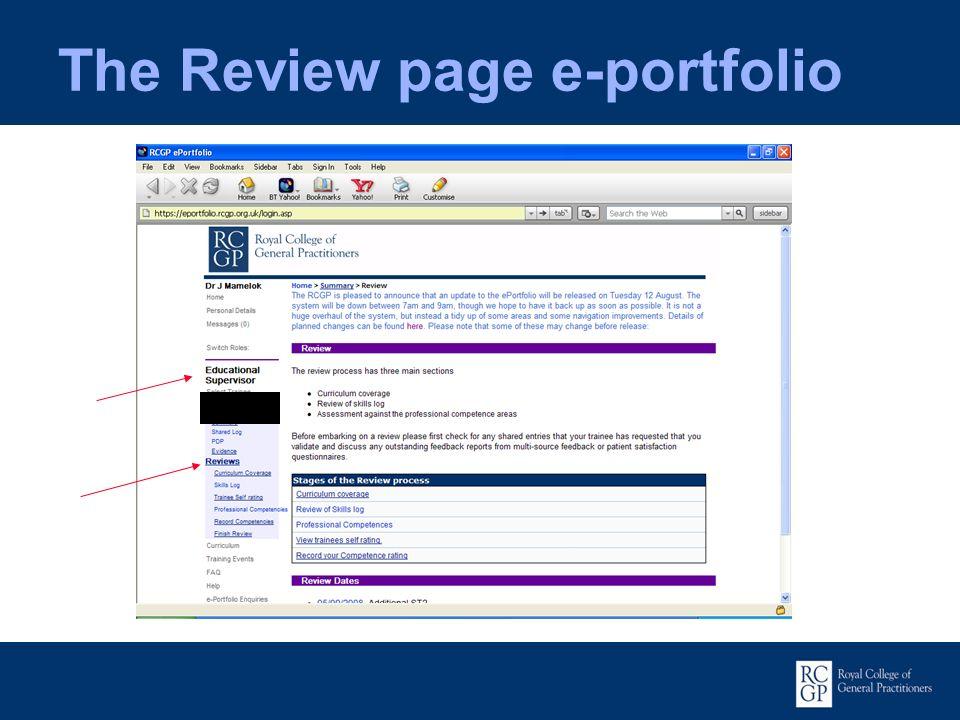 The Review page e-portfolio