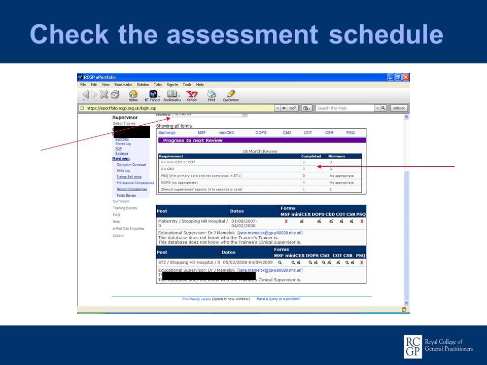 Check the assessment schedule