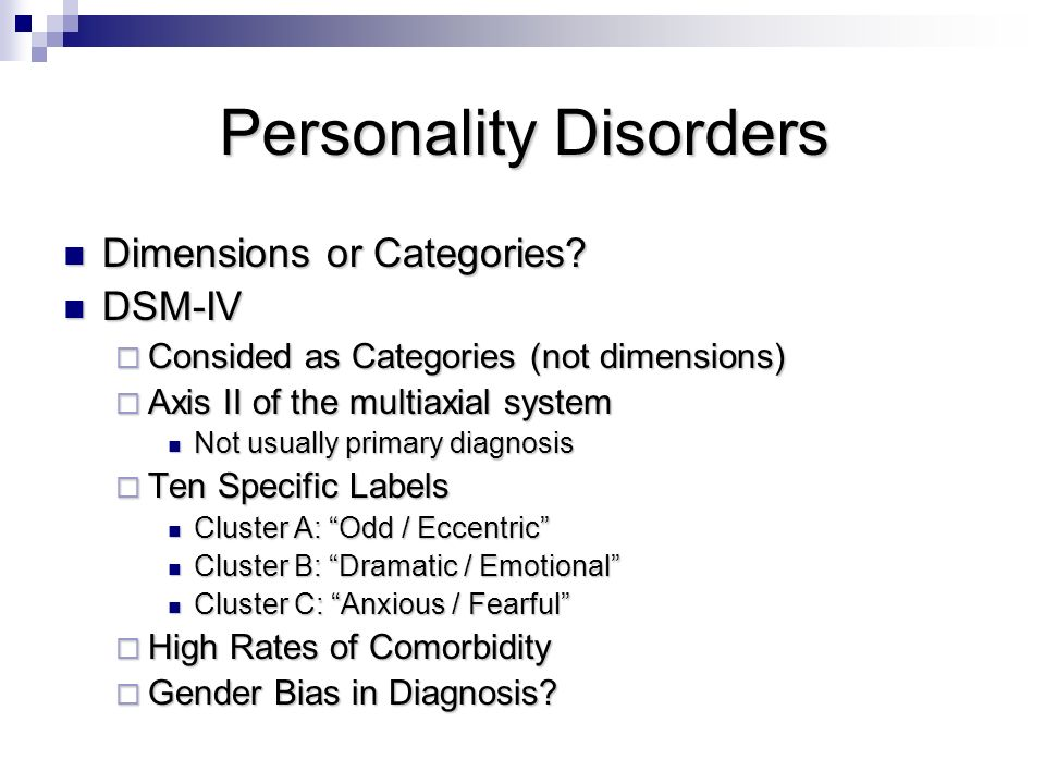 Cluster b personality disorders and sex