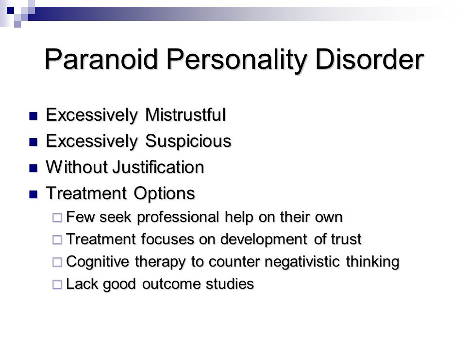 paranoid personality disorder essay Paranoid personality disorders paranoid personality disorder is a disorder commonly mistaken for schizophrenic personality disorders schizophrenia, a psychosis, is when a.