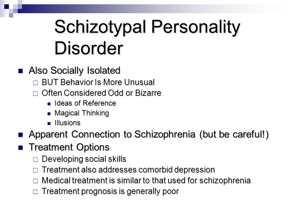 schizotypal personality disorder This schizotypal personality disorder screening test can help determine whether you might have the symptoms of schizotypal personality disorder (stpd) use the results to decide if you need to see a doctor or other mental health professional to further discuss diagnosis and possible treatment of schizotypal personality disorder.