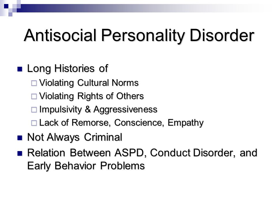 antisocial personality disorder case study essay Read antisocial personality disorder essays and research papers view and download complete sample antisocial personality disorder essays, instructions, works cited pages, and more.