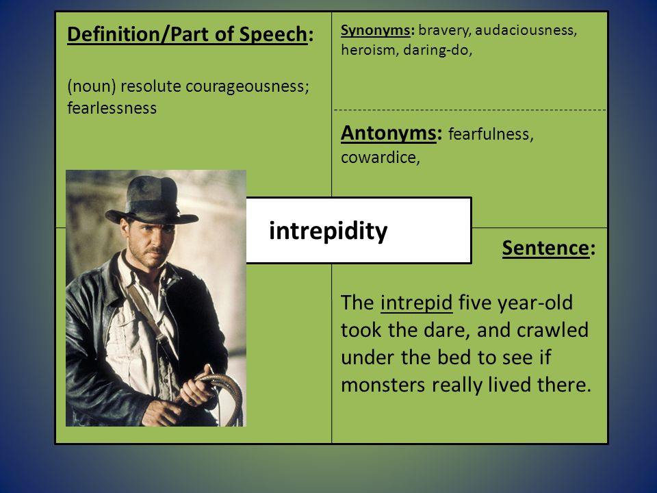 Exceptional Intrepidity Definition/Part Of Speech: