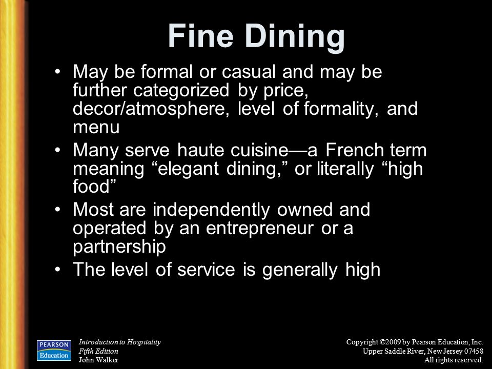 Chapter 6 the restaurant business ppt download for A la cuisine meaning
