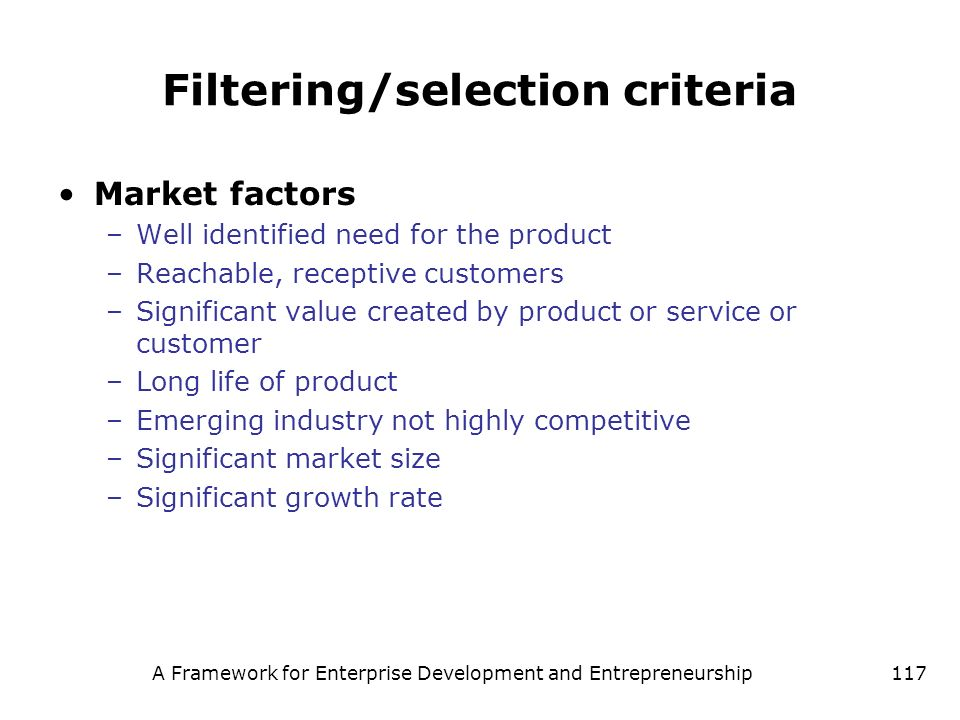 Filtering/selection criteria