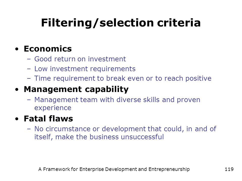 Filtering/selection criteria