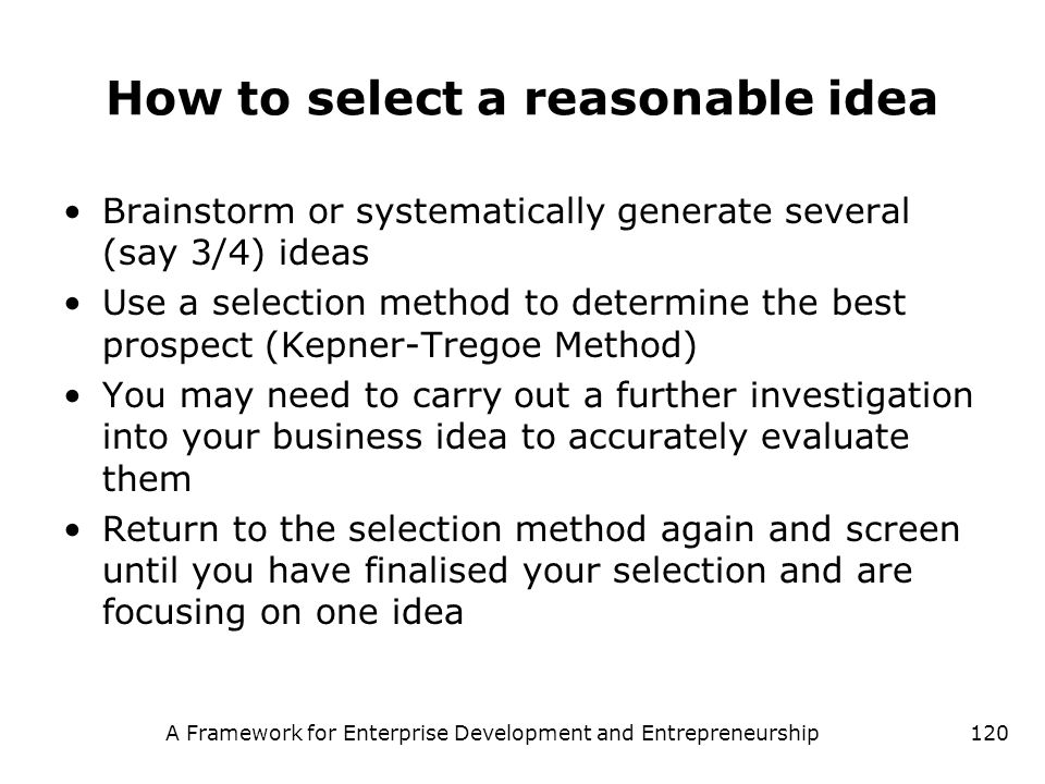 How to select a reasonable idea