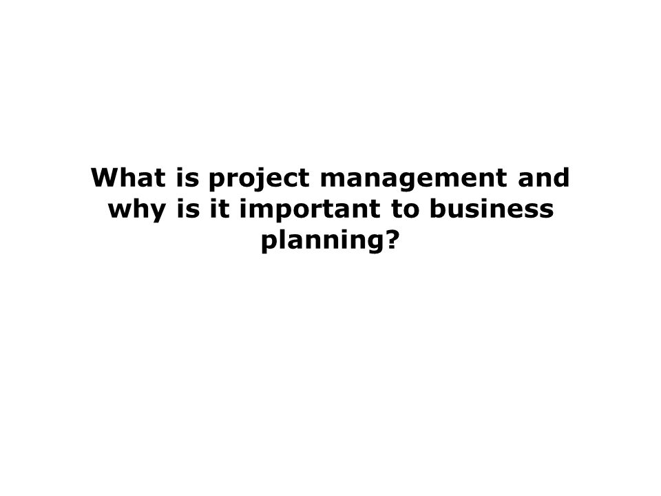 What is project management and why is it important to business planning