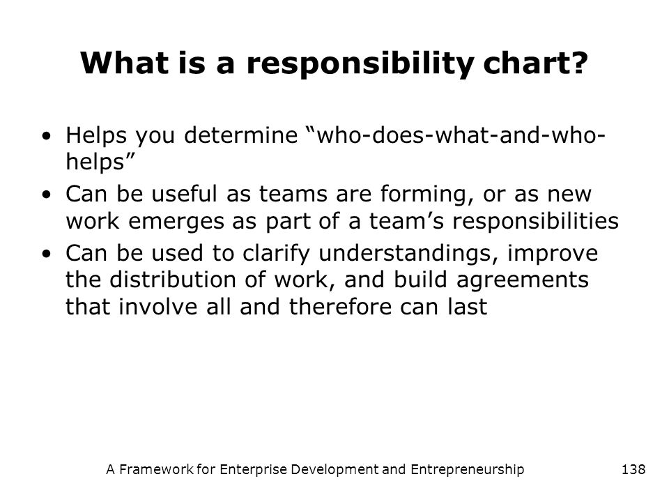 What is a responsibility chart