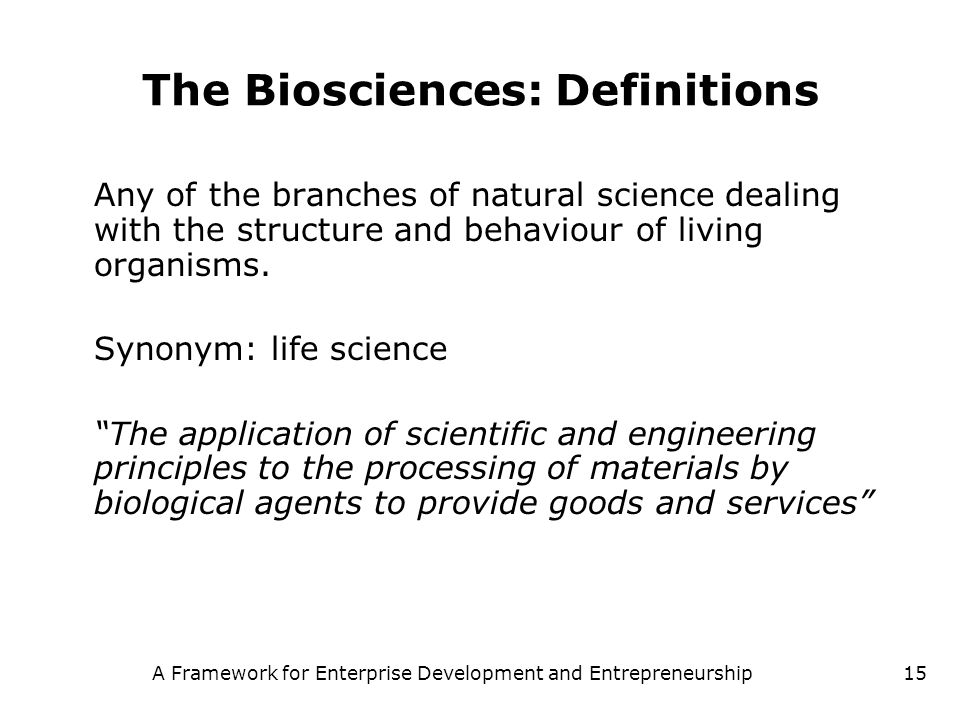 The Biosciences: Definitions