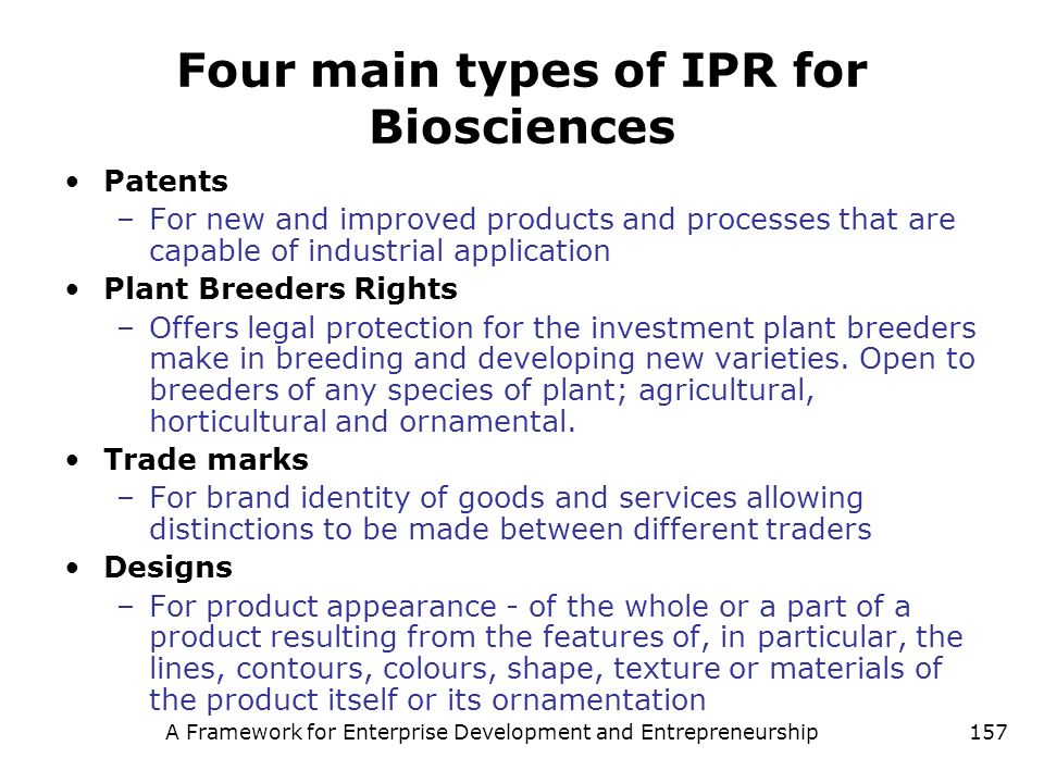 Four main types of IPR for Biosciences