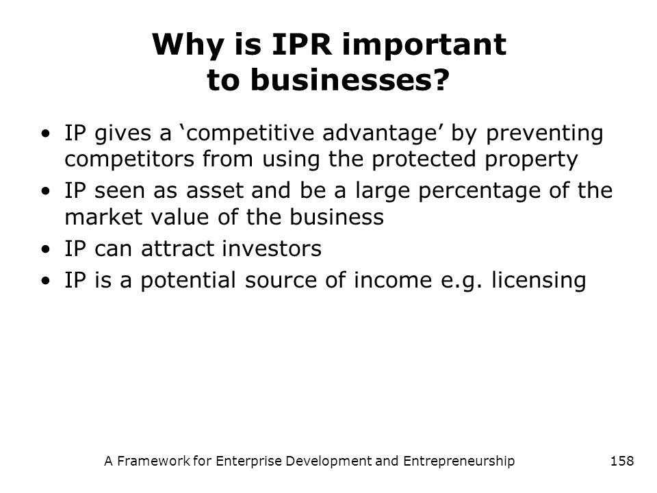 Why is IPR important to businesses