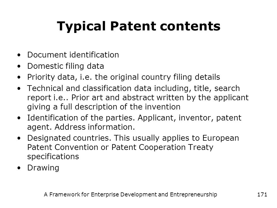 Typical Patent contents