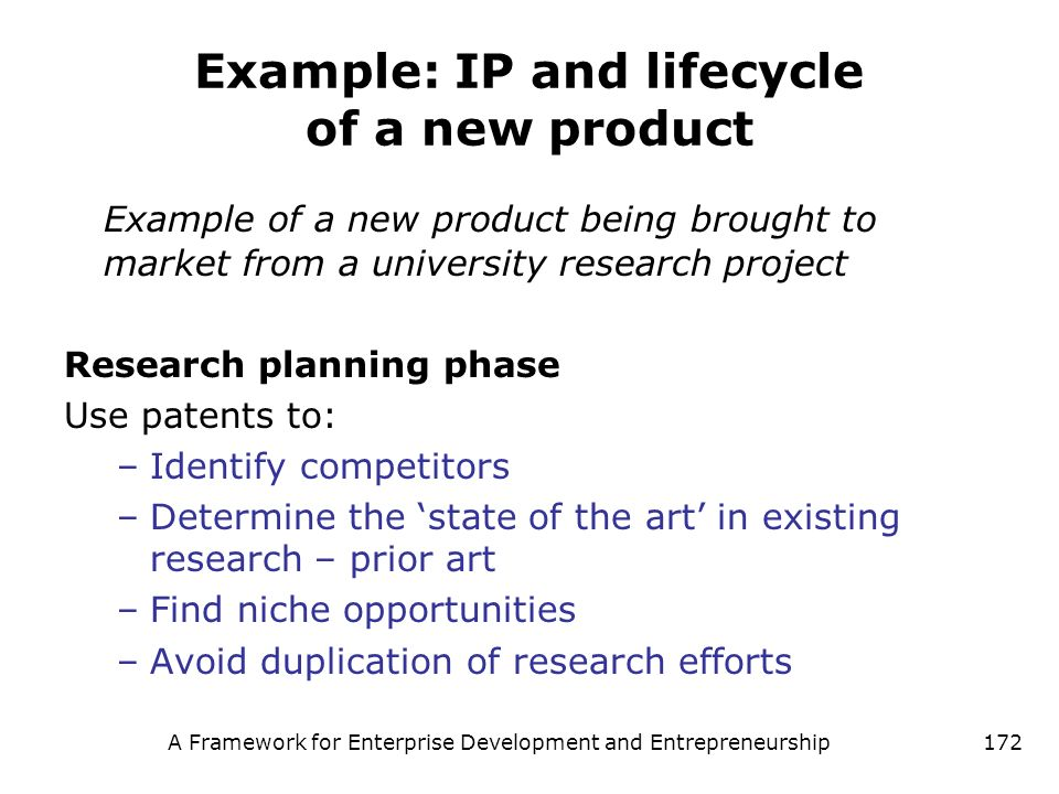 Example: IP and lifecycle of a new product
