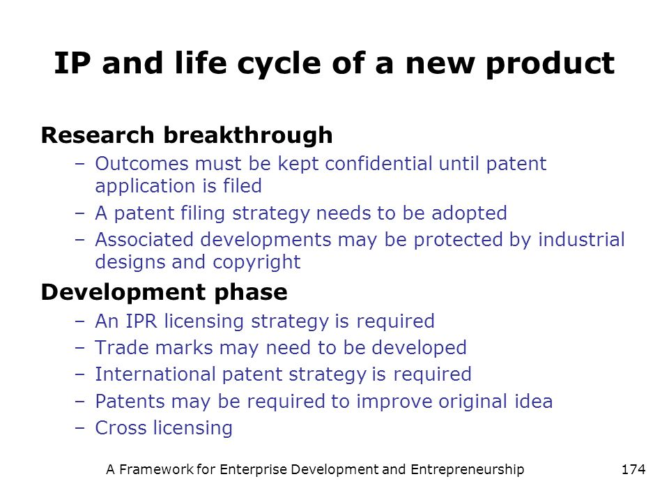 IP and life cycle of a new product