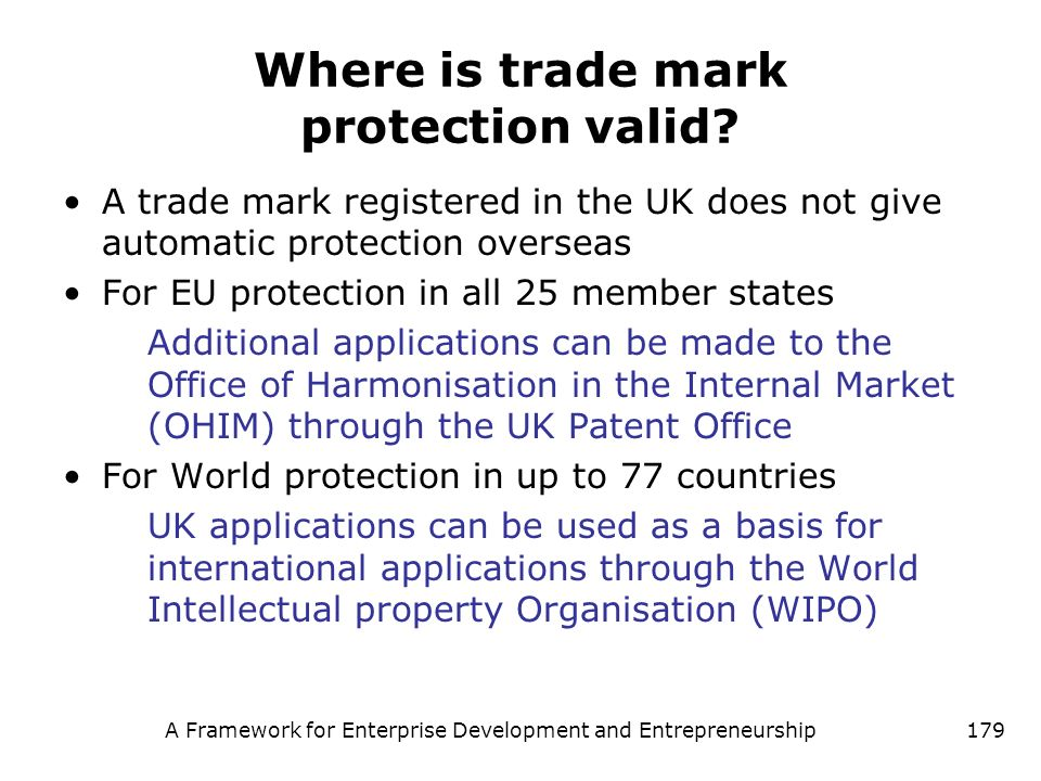 Where is trade mark protection valid