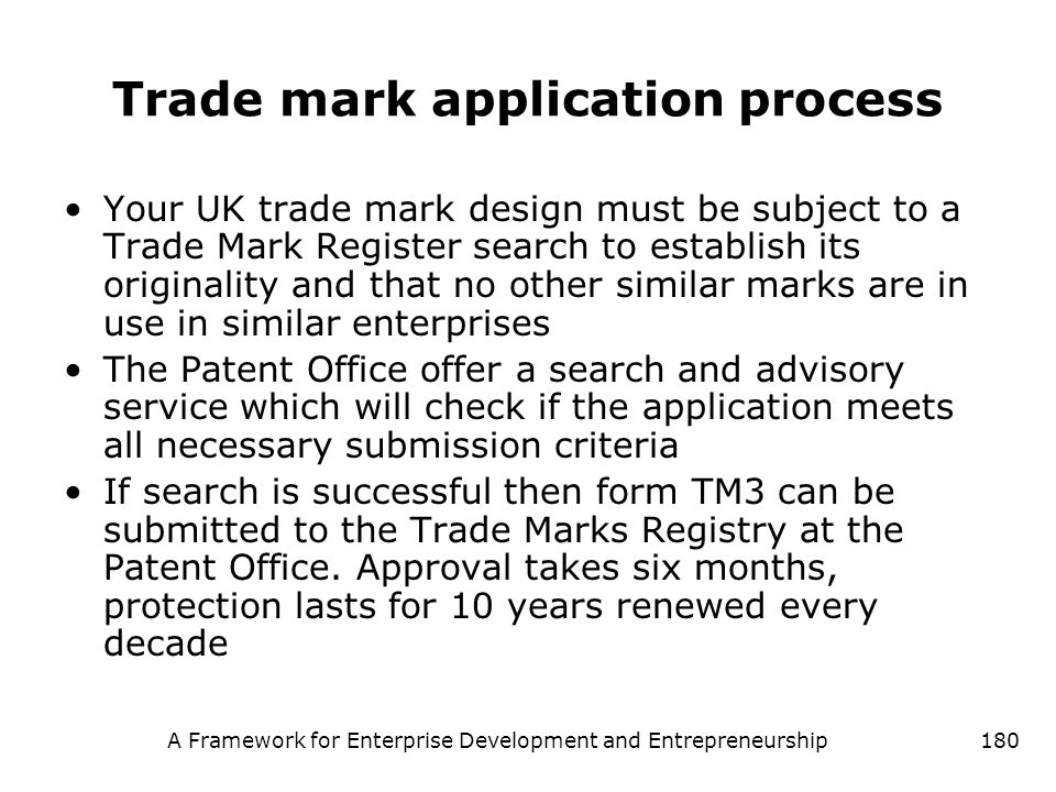 Trade mark application process
