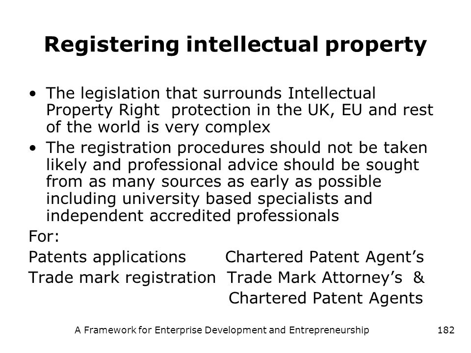 Registering intellectual property