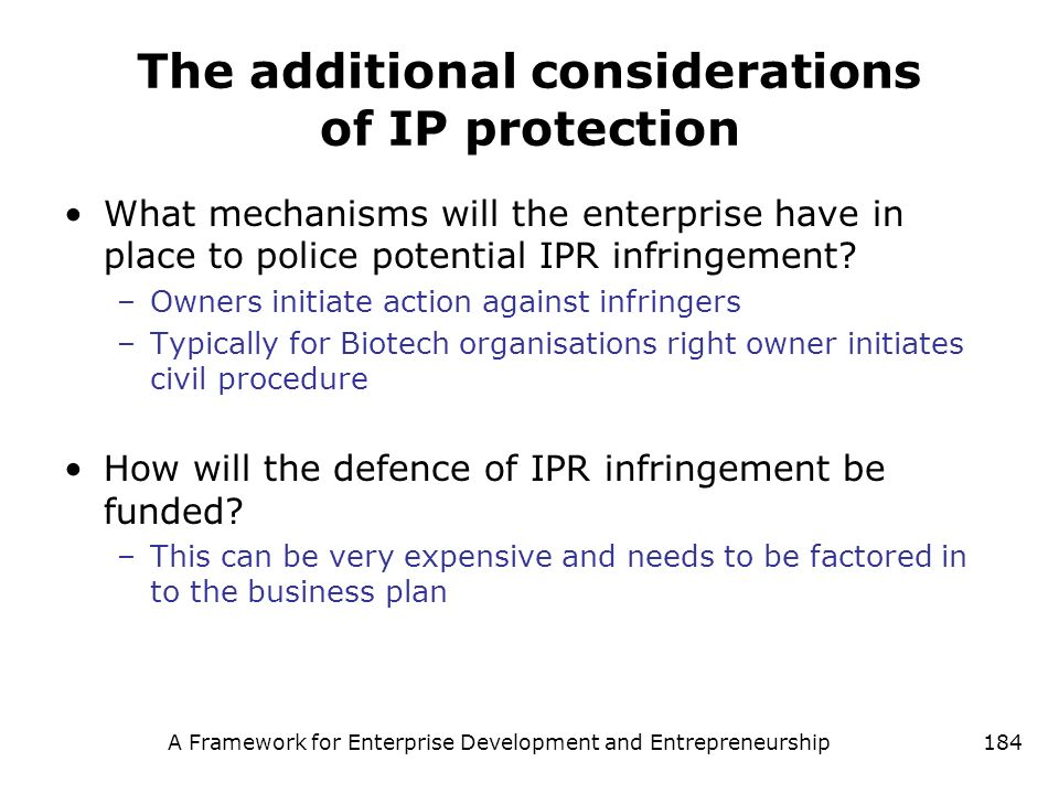 The additional considerations of IP protection