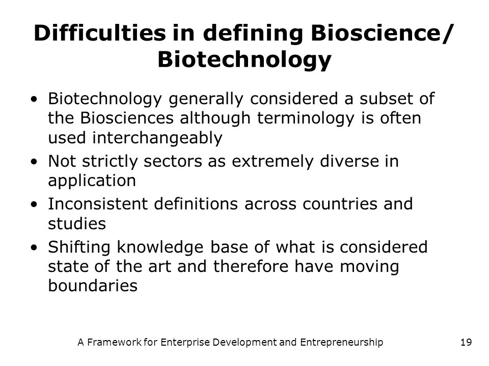 Difficulties in defining Bioscience/ Biotechnology