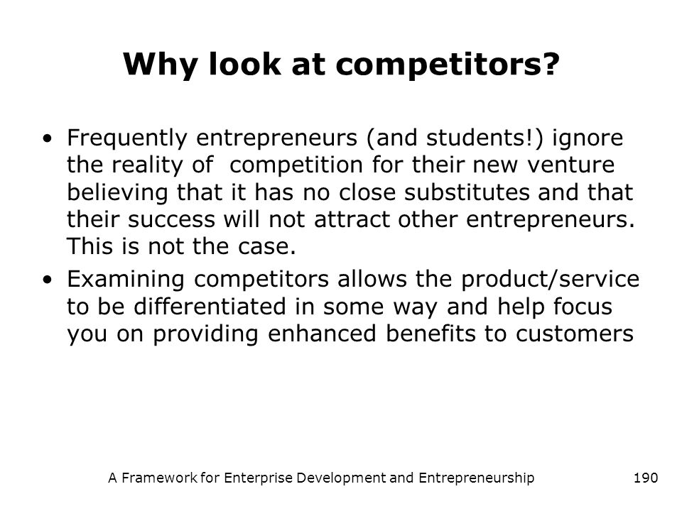 Why look at competitors